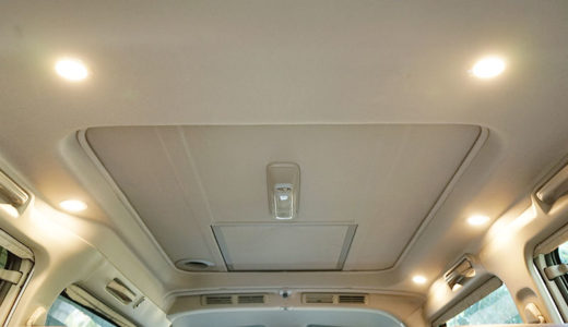 車の天井に調光付きLEDダウンライトを取り付けました